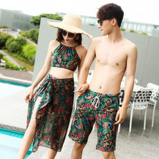 Couples swimwear Bohemian seaside vacation female three or four sets of bikini sexy cover belly men's beach pants hot spring