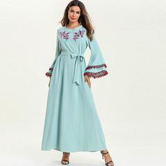 长袖印度土耳其长袍大码绣花长裙流苏宽袖异域风情女连衣裙演出服