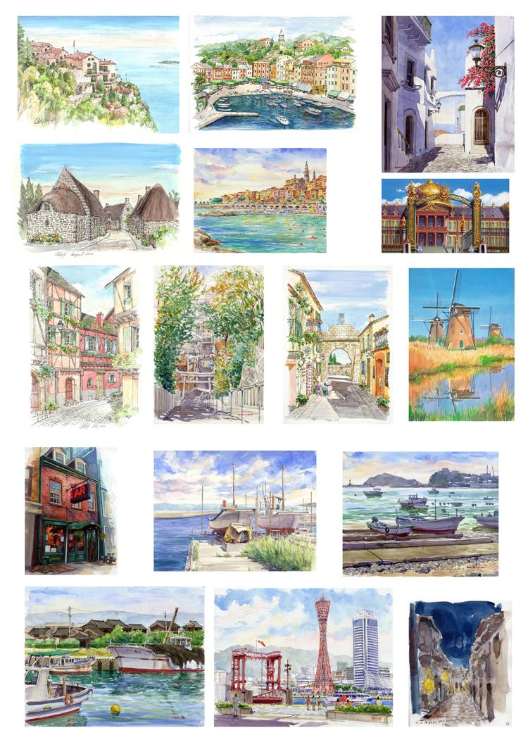 手帐贴纸 亚光不干胶手账相册日记装饰贴纸 自然风景插画建筑