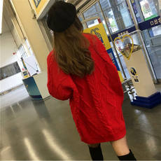 Autumn and winter round neck thick needle in the long twist large red sweater female thick knit loose wool dress