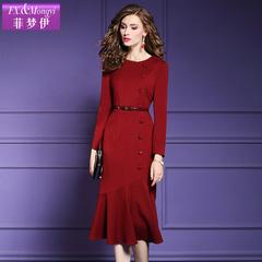 菲梦伊枣红色连衣裙春秋新款长袖气质显瘦包臀中长鱼尾裙女19573