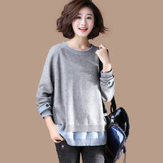 Clothing goods original large size loose fake two-piece round neck pullover sweater women 2019 early spring new shirt S789