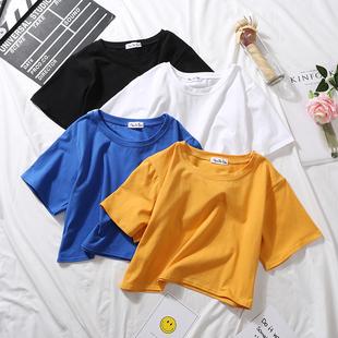 露脐短袖女夏纯棉短款t恤漏肚脐宽松高腰上衣短装半袖体恤小衫