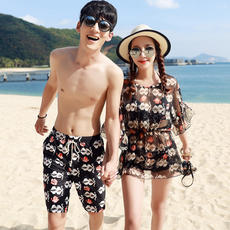 Couples swimwear suits Spa Korea three-piece bikini 2018 new fashion holiday men and women