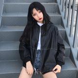秋季女装2018新款韩版BF风宽松机车服pu皮衣学生飞行员皮夹克外套