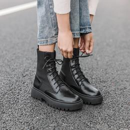 马丁靴女2018新款靴子女粗跟百搭英伦风机车靴女厚底短靴马丁鞋潮