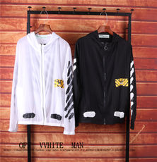 OFF OWF WHITE OW Tide brand tiger pattern zebra line splash ink spray sun protection clothing hooded windbreaker jacket men and women