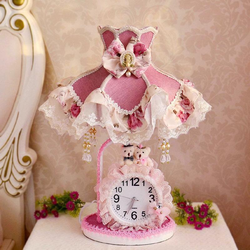 欧式卧室床头灯布艺情侣熊公主儿童房可爱温馨暖光台灯结婚礼物