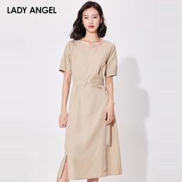 2018夏季新品短袖连衣裙收腰ins超火的直筒裙子冷淡风仙青年女
