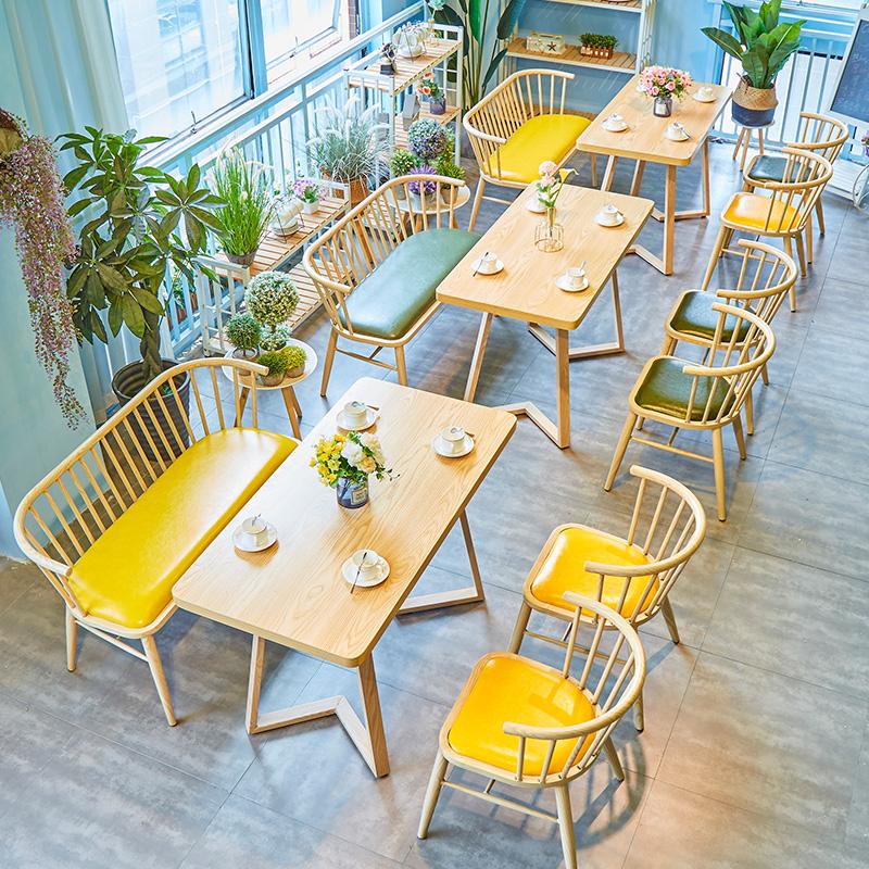北欧铁艺温莎椅商用餐厅饭店快餐店桌椅个性创意奶茶店饮品店沙发