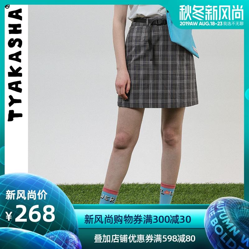 TYAKASHA塔卡沙花小人系列女款定制深灰格纹插扣西装短裙FFMF55
