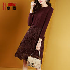Zhuo Tu women's round neck knit lace autumn and winter bottoming dress Slim long-sleeved A word skirt female 2018 new