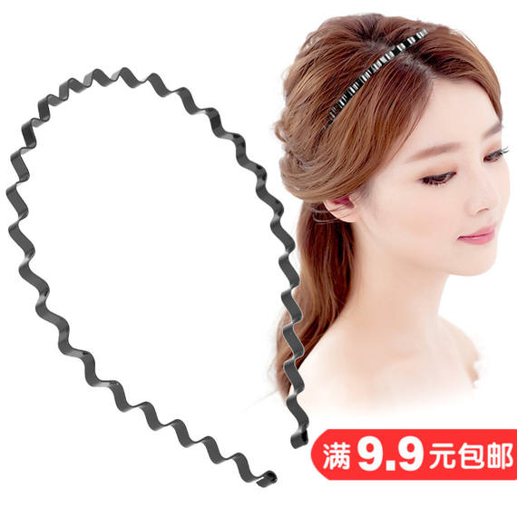 Korean version of the hair accessories wavy headband jewelry unisex wave wash head hair band hairpin ring