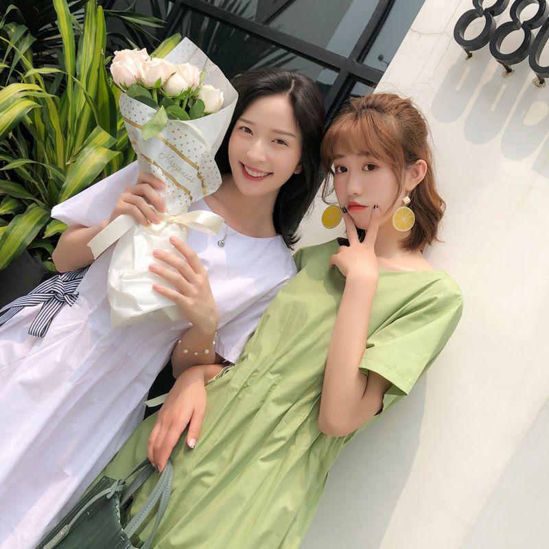 牛油果绿连衣裙抹茶绿色裙子小清新小个子2019新款夏季果绿芥末绿