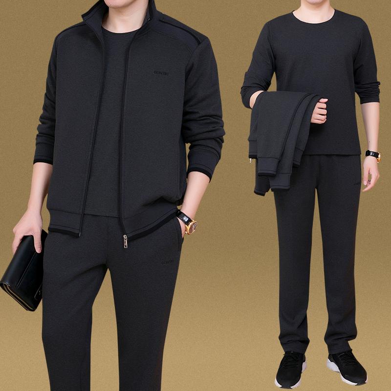 2018新款中老年运动套装男士秋季时尚大码休闲中年三件套爸爸装棉