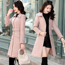 Woolen coat female slim slimming long section 2018 autumn and winter models fashion lapel small tie woolen coat