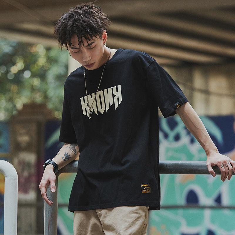 MRXXX嘻哈潮流t恤男短袖欧美街头个性复古半袖学生潮牌宽松蝙蝠衫