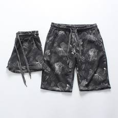 Europe and the United States wind dark black camouflage shorts couple models cotton waist pants hair circle guard pants sports pants women