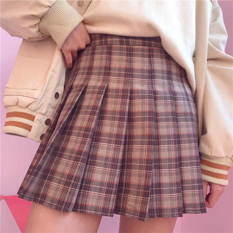 高腰显瘦韩版新款2018年日系少女大地色咖啡卡其半身短裙子