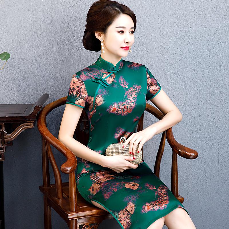 香云纱旗袍式连衣裙高贵复古修身女妈妈装修身老上海中式旗袍礼服
