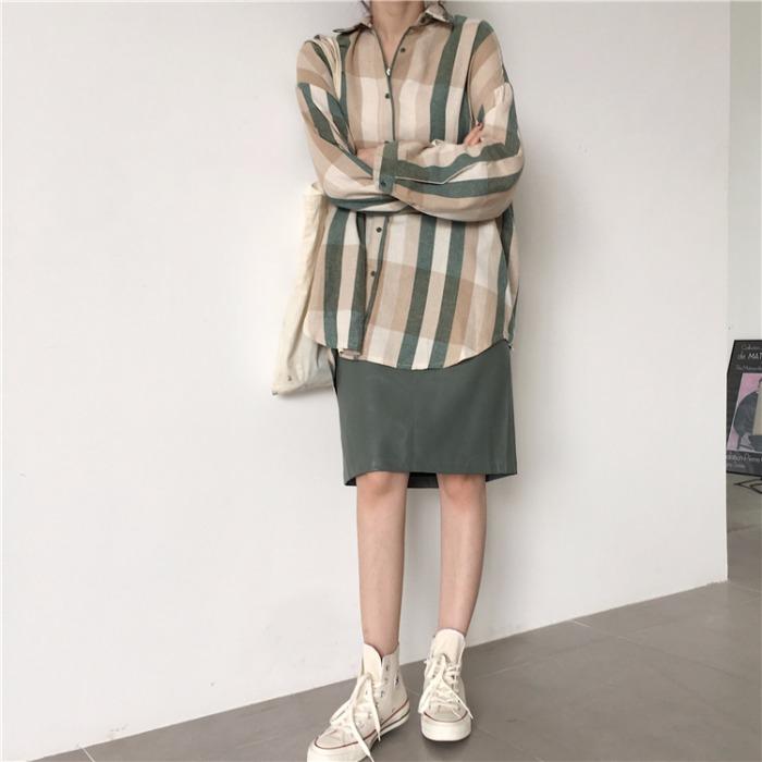 早秋女装韩版套装chic复古宽松条纹长袖衬衫加皮半身裙子两件套潮