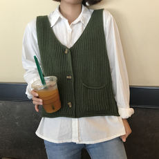 Autumn new Korean version of the retro chic loose wild sweater shirt tide female knitted vest vest sleeveless vest
