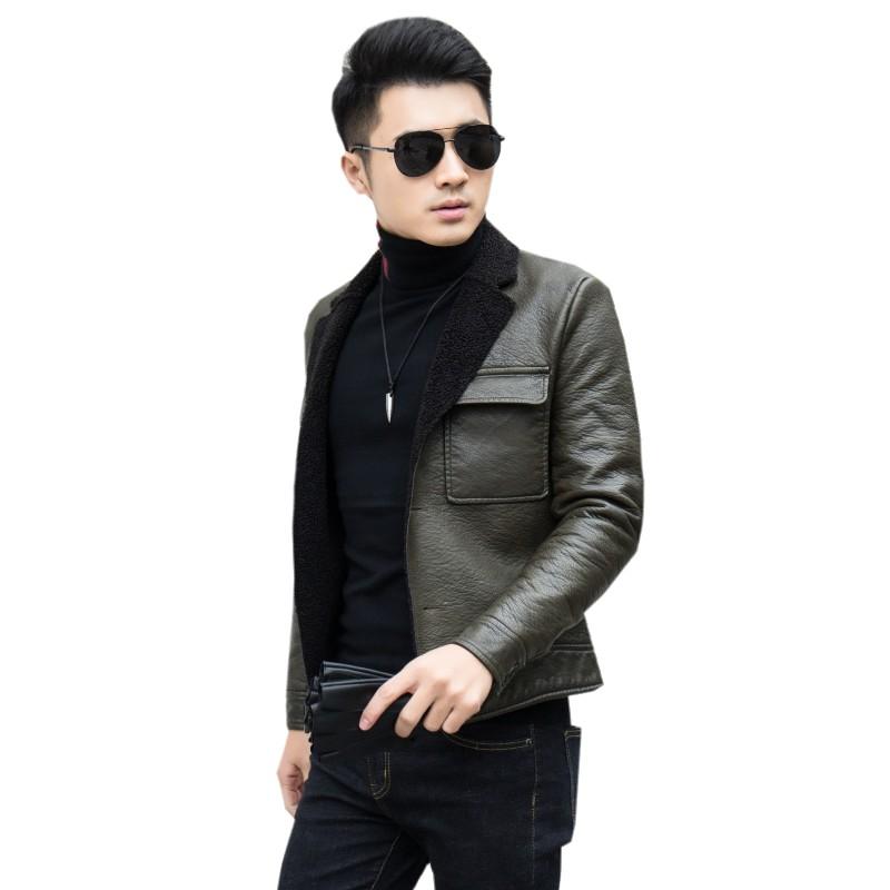 冬季男式皮毛一体皮衣韩版修身短款加绒皮夹克新款潮男加厚皮外套