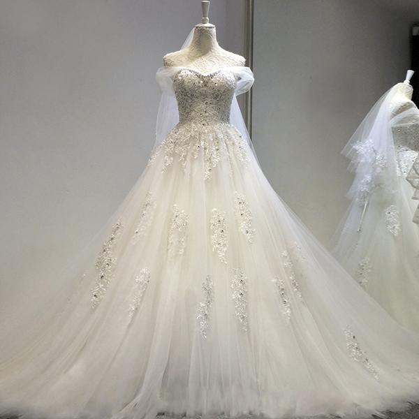 天使嫁衣蕾丝透视一字肩钻石闪片公主新娘大拖尾婚纱礼服2017新款