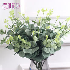 New Screen printing eucalyptus big leaves outdoor imitation real flowers and flowers plant wall outdoor engineering flower bed decoration