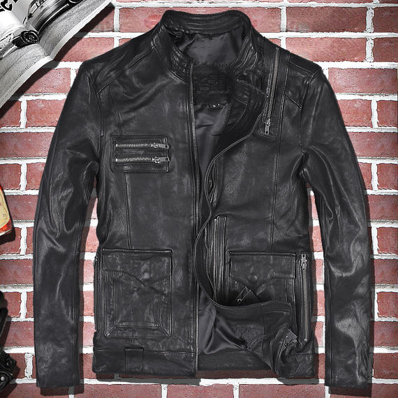 Harley leather leather tide men's motorcycle clothing, vegetable tanned sheep skin, thin slim leather jacket, short collar jacket