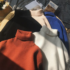 Good quality winter solid color thick high collar sweater male trend sweater Korean version of the set of loose bottoming sweater