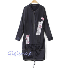2018秋装新款韩版显瘦女装上衣百搭棒球领中长款印花休闲外套