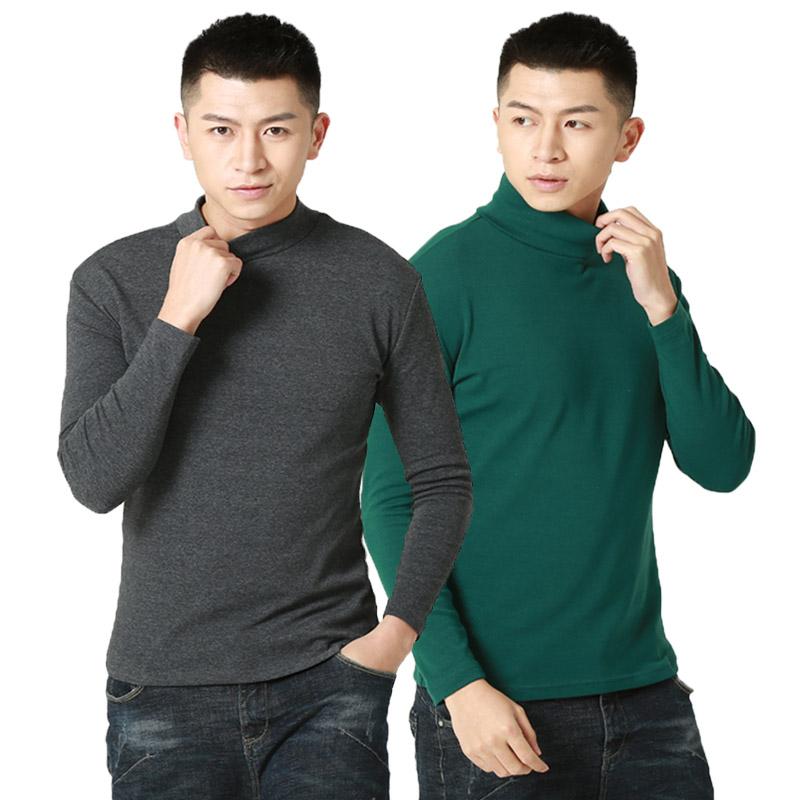男士半高领打底衫长袖t恤修身秋衣冬季中领紧身体95%纯棉5%莫代尔