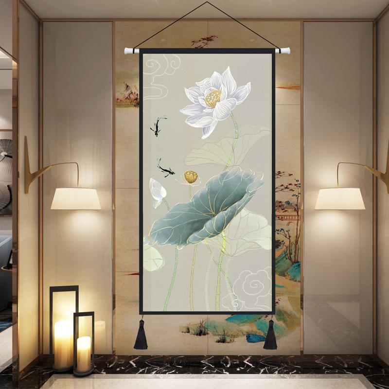 中式中国风挂布挂毯客厅玄关背景墙装饰布画卧室床头布艺挂画超大