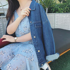 Monica 2018 large size women's spring and summer new 200 pounds fat MM loose thin washed denim jacket
