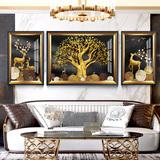 欧式轻奢麋鹿客厅装饰画沙发后面墙上的挂画现代简约大气美式壁画