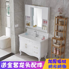 Bathroom cabinet combination European-style floor bathroom cabinet simple European bathroom vanity simple modern washbasin cabinet