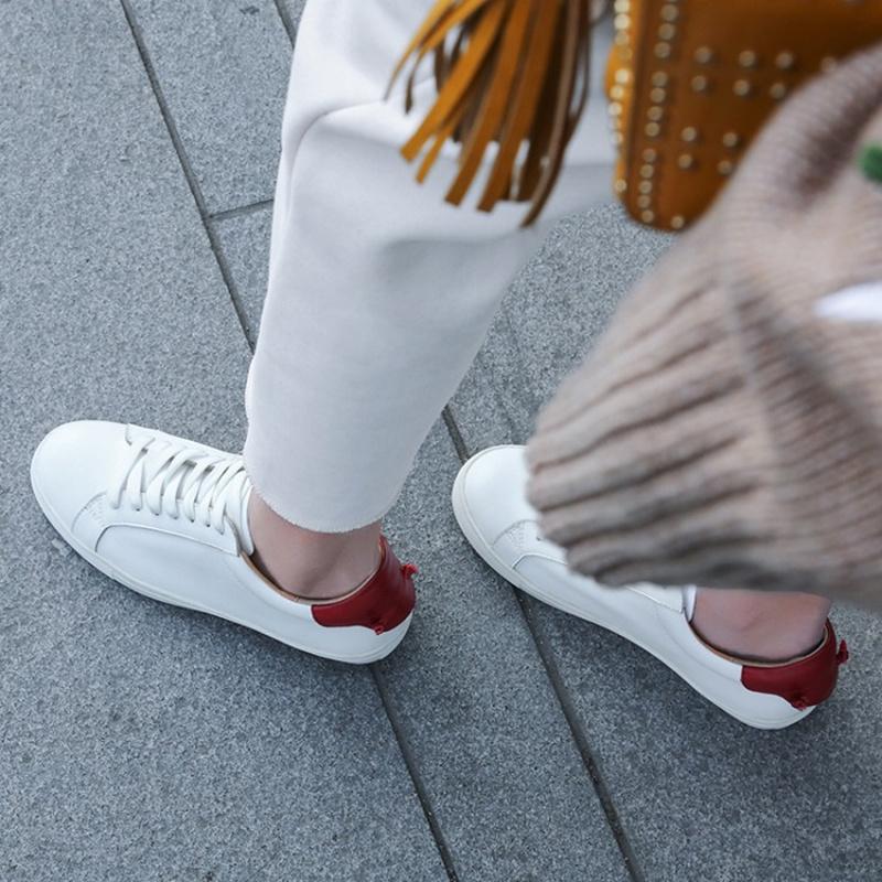 【蛋蛋肖】舍我其谁~!common小白鞋真皮圆头系带休闲运动板鞋女