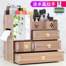 Wooden desktop cosmetics storage box European drawer dressing table skin care lipstick finishing storage shelf large