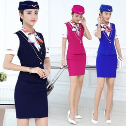 新款空姐制服职业套装女短袖夏季酒店前台收银员马甲美容院工作服