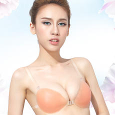 Invisible bra with shoulder straps gathered silicone underwear wedding dress swimsuit non-slip waterproof thickened invisible chest stickers