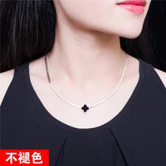日韩时尚圆牌项链女百搭钛钢镀18K玫瑰金锁骨链短颈链母亲节礼物