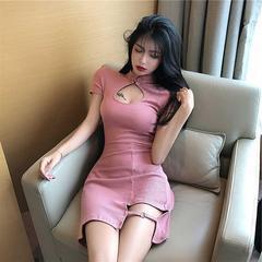 2019名媛夏装旗袍改良新款气质设计感小心机裙子连衣裙年轻款少女