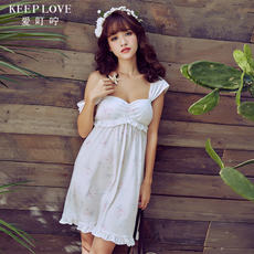 Gereier's love spring and summer models sexy white sweet print girl sleep dress home pajamas