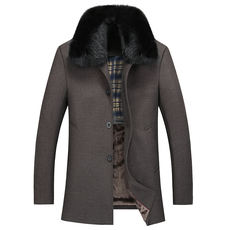 Autumn and winter middle-aged men's wool coat large size lapel father woolen coat middle-aged thick woolen trench coat