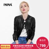【断码清仓799元】诺贝妮娜真皮皮衣女短款修身羊皮夹克外套单皮
