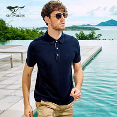 Seven wolves short-sleeved T-shirt men's summer youth men's cotton lapel fashion business casual polo shirt