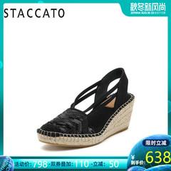 STACCATO/思加图2019专柜同款亮片布女凉鞋9W601AH9