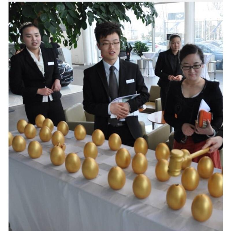 金4蛋木锤摆放创意节庆节用品装饰金色婚庆金蛋抽奖金蛋各 高20cm