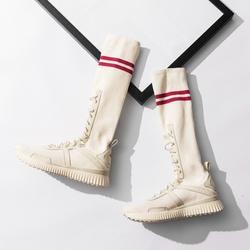新款ins超火的袜子鞋女2018长筒袜街拍运动鞋高帮学院靴白色袜鞋